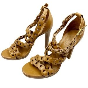 Tory Burch Linked Leather Strappy Heels Size 6